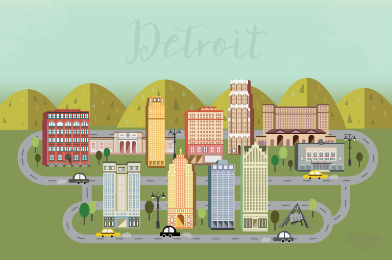 Detroit Hustles Harder Buildings Illustration Hajin Kim Letterer Illustrator
