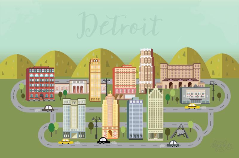 Detroit Hustles Harder Buildings Architecture Illustration