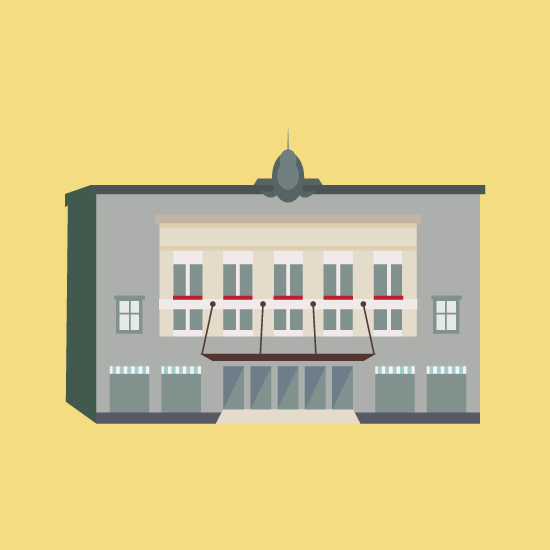 Detroit Orchestra House Building Illustration