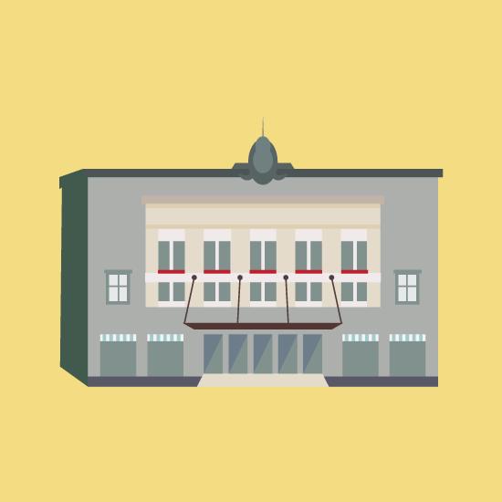 Detroit Orchestra House Building Illustration