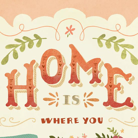 "Home Is... Hand-lettered Poster ""Home"" Close Up"