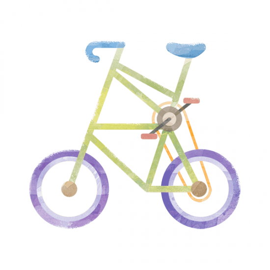 Colorful Double Decker Bike Illustration
