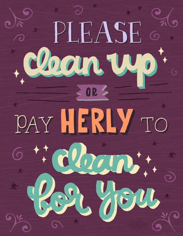 Clean Up Lettered Sign