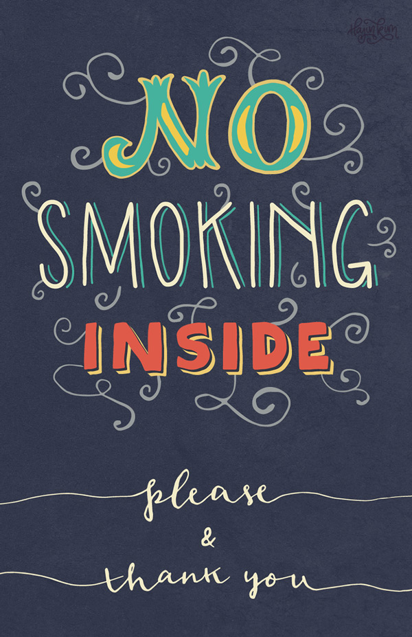 No Smoking Lettered Sign