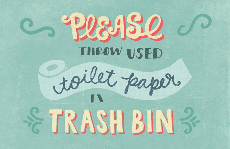 Toilet Paper in Trash Bin Lettered Sign