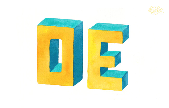 Shit Nicas Say: OE Watercolor 3D Lettering by Hajin Kim Letterer Illustrator